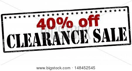 Rubber stamp with text forty percent off clearance sale inside vector illustration