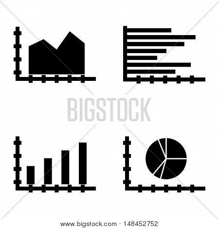 Set Of Statistics Icons On Bar Chart, Area Chart, Pie Chart And More. Premium Quality Eps10 Vector I