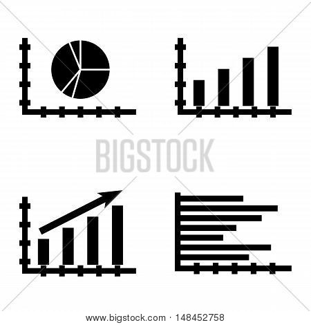 Set Of Statistics Icons On Statistics Growth, Horizontal Bar Chart, Bar Chart And More. Premium Qual