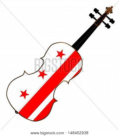 A typical violin with Washington DC flag isolated over a white background