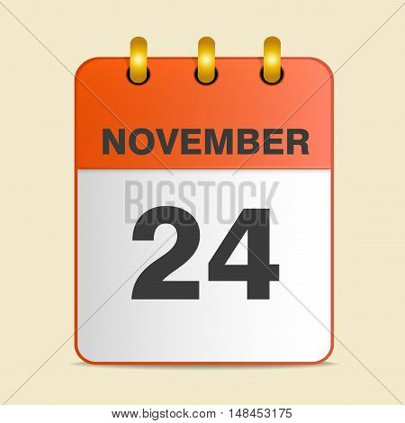 Thanksgiving day in the calendar. 24 November 2016. Vector illustration. Square location