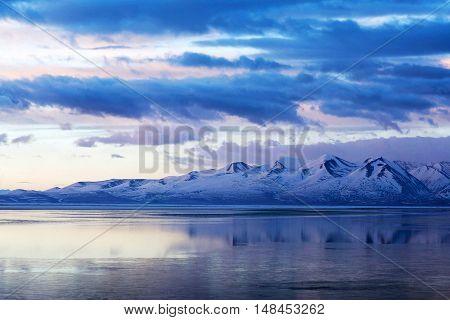 Manasarovar Holy Lake In Western Tibet At Twilight