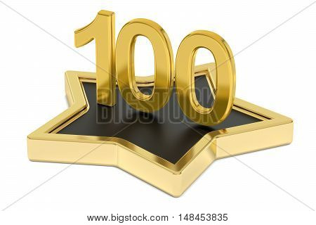 golden number 100 on star podium award concept. 3D rendering isolated on white background