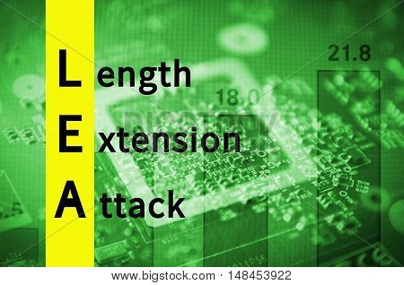 Acronym LEA as Length extension attack. Abstract illustration.