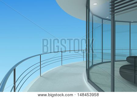 Round terrace of a skyscraper office hotel or penthouse. 3d illustration