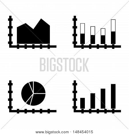 Set Of Statistics Icons On Pie Chart, Area Chart, Bar Chart And More. Premium Quality Eps10 Vector I