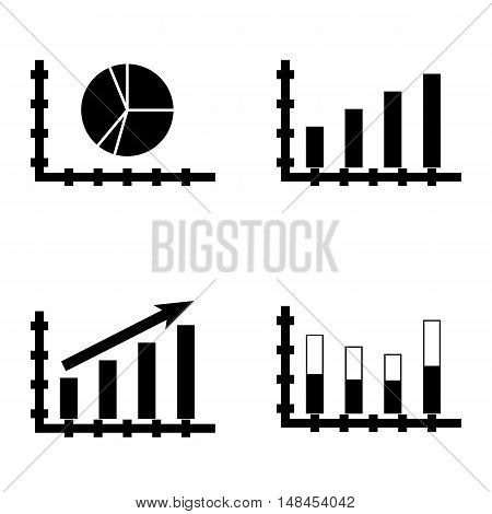 Set Of Statistics Icons On Pie Chart, Statistics Growth, Bar Chart And More. Premium Quality Eps10 V