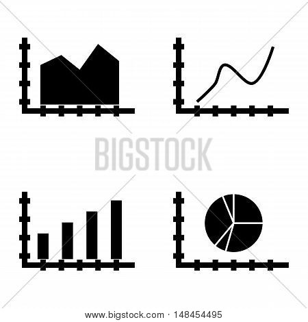 Set Of Statistics Icons On Curved Line, Bar Chart, Area Chart And More. Premium Quality Eps10 Vector