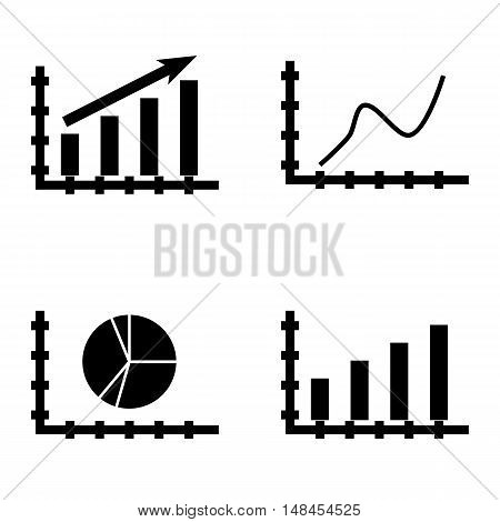 Set Of Statistics Icons On Statistics Growth, Curved Line, Bar Chart And More. Premium Quality Eps10