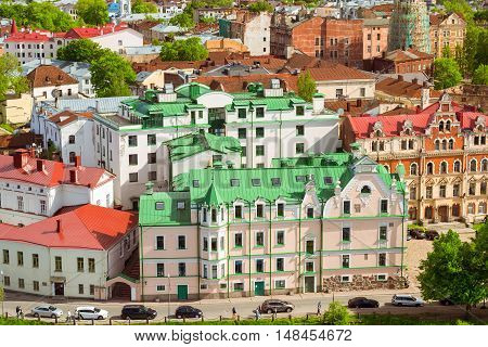 Vyborg city views and horizons from height of Vyborg fortress Leningrad region Saint-Petersburg Russia. Summer Sunny day in medieval tourist town