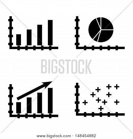 Set Of Statistics Icons On Pie Chart, Statistics Growth, Plotter Point Chart And More. Premium Quali