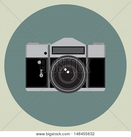 Retro Manual Camera Vector Flat Image