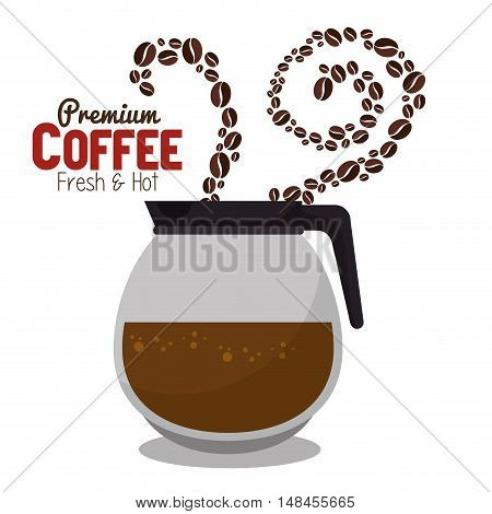 pot coffee hot beans premium graphic vector illustration eps 10