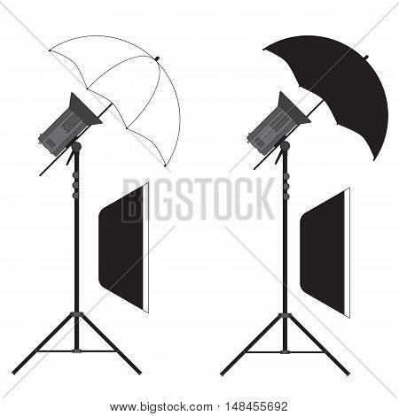 Studio Strobe Light Flashes With Umbrella And Soft-boxes
