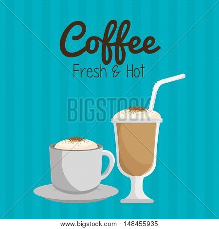 coffee cup and glass straw graphic vector illustration eps 10