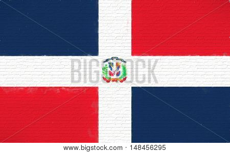Illustration of the flag of the Dominican Republic looking like it is painted onto a wall