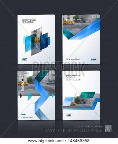 Brochure template layout, cover design annual report, magazine, flyer, leaflet in A4 with blue triangles, arrow, ribbon with overlap effect for business and technology. Vector mega set.
