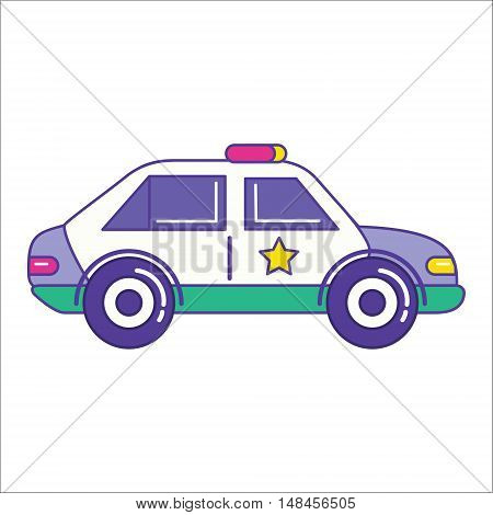 Police Car Icon In Trendy Flat Line Style. Patrol Vehicle Symbol. Sheriff Automobile Vector Illustra