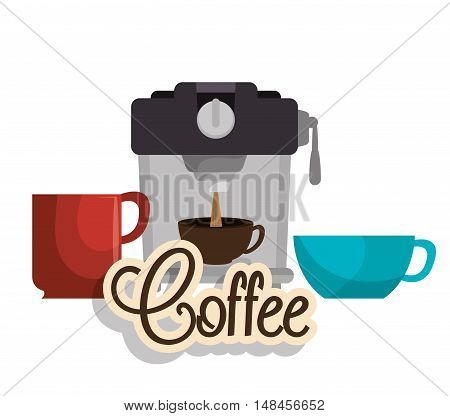 maker coffee and three cup graphic vector illustration eps 10