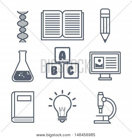 set elements lab school graphic isolated vector illustration eps 10