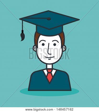 cartoon student graduation graphic isolated vector illustration eps 10