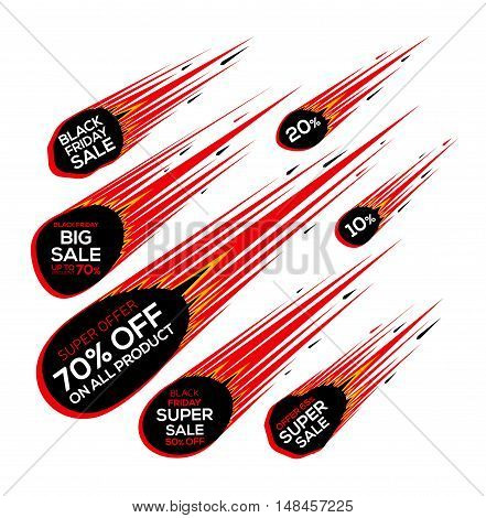 Black Friday sale. Super sale and discount. Falling meteorite. Vector illustration
