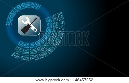 Vector abstract background with circular binary code and tools