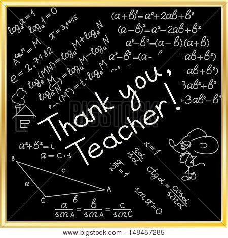 Thank you card. World Teachers' day. School doodles Supplies Sketchy background, composition. Black Chalkboard. Hand Drawn Vector Illustration. Design Elements