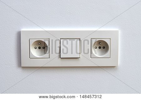 White Light Switch And Electrical Outlet