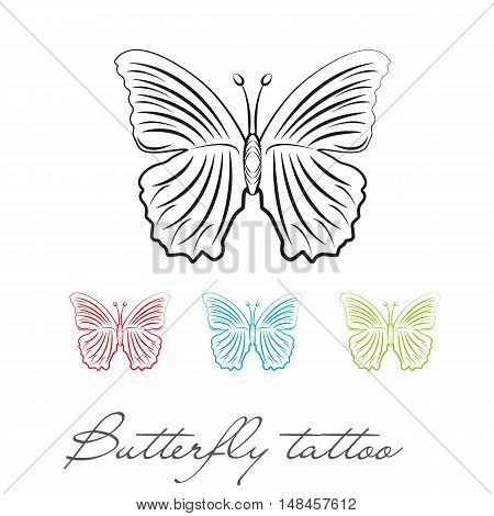 silhouette butterfly for tattoo or logo. different colors