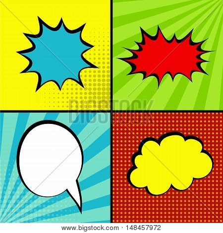 Set comic collection colored cloud pop art vector style. Set message bubble sound background speech with comic cartoon expression illustration. Comics book sound effect background template.