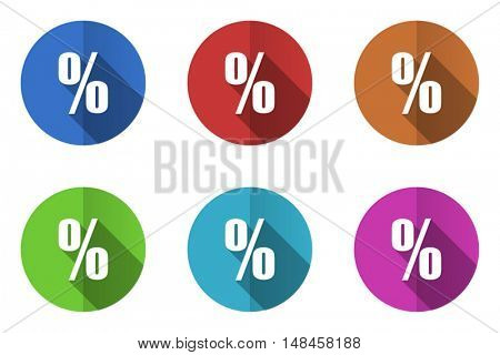Flat design percent vector icon. Eps 10 web colorful buttons.