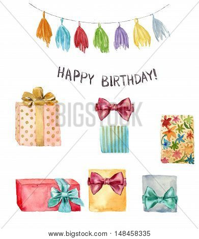 Watercolor Happy birthday element set. Hand painted illustration with tassel garland, Happy birthday lettering and birthday gift with bow isolated on white background