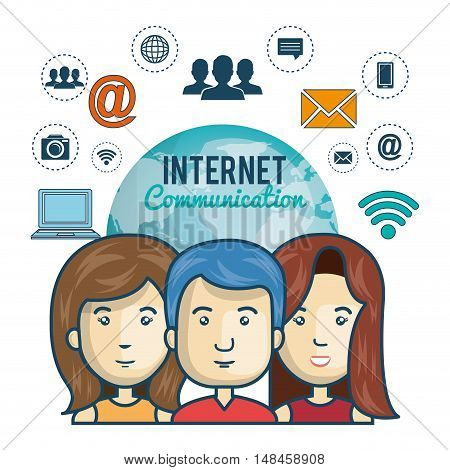 internet connection globe persons web graphic vector illustration eps 10