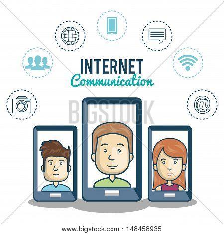 smartphone black character internet communication graphic vector illustration eps 10