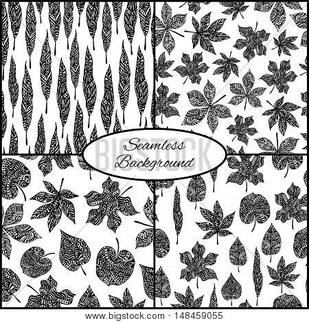 Set Of Four Seamless Patterns With Ornamental Leaves