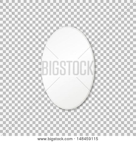Vector white oval frame, isolated on transparent background.