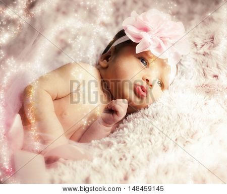 Newborn Baby Girl With Pink Tutu.