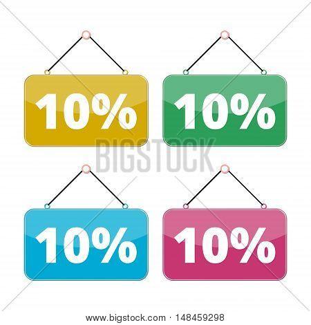 10 percent sale icon set, Discount 10%, four color