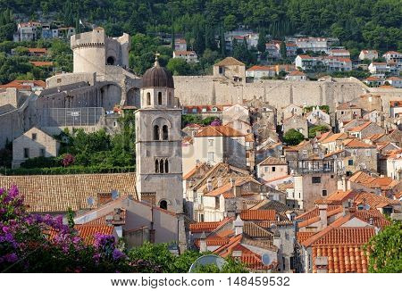 Dubrovnik Old Town, bell tower, roof and city walls, Croatia