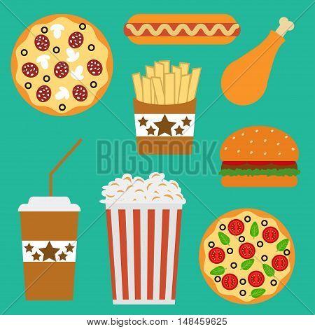Flat fast food menu icons of pizza