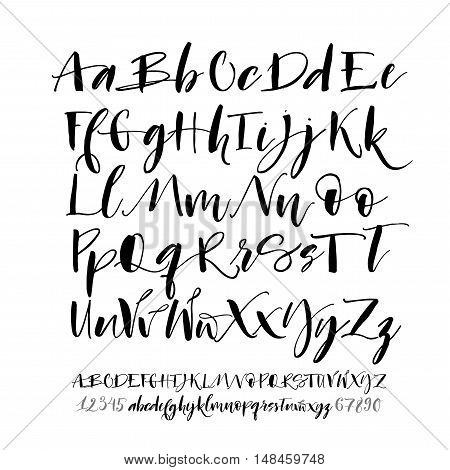 Collection of hand drawn alphabet letters with numbers. Alphabet letters: lowercase uppercase numbers. Vector alphabet. Ink illustration. Modern brush calligraphy. Isolated on white background.