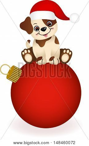 Scalable vectorial image representing a cute dog on Christmas ball, isolated on white.