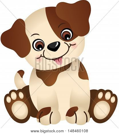 Scalable vectorial image representing a cute dog sitting, isolated on white.