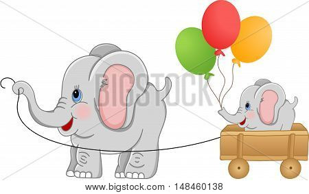 Scalable vectorial image representing a elephant pulling wood cart with elephant baby, isolated on white.