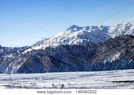 Ski Slope In Sunny Morning