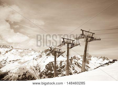 Ropeway At Winter Ski Resort