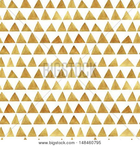 Seamless pattern with hand drawn gold triangles. Ink illustration. Hand drawn glittering background. Ornament for wrapping paper and your design.