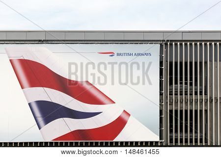 Billund, Denmark - September 16, 2016: British Airways logo on a wall. British Airways is the flag carrier and the largest airline in the United Kingdom based on fleet size