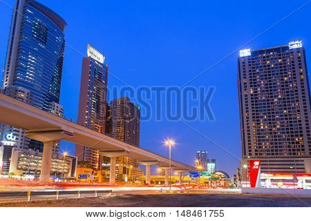 DUBAI, UAE - 3 APRIL 2014: Hotels of Dubai Internet City at dusk, UAE. Dubai Internet City is created by the government free economic zone for global information technology firms.